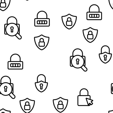 Type Locks Vector Seamless Pattern Thin Line Illustration