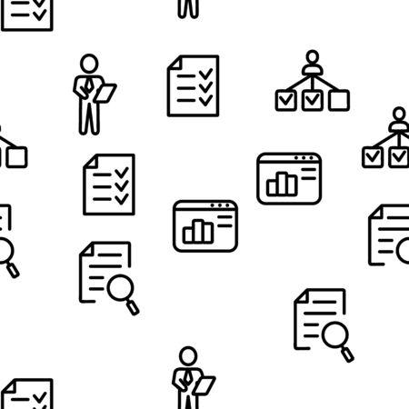 Management Vector Seamless Pattern Thin Line Illustration Illusztráció