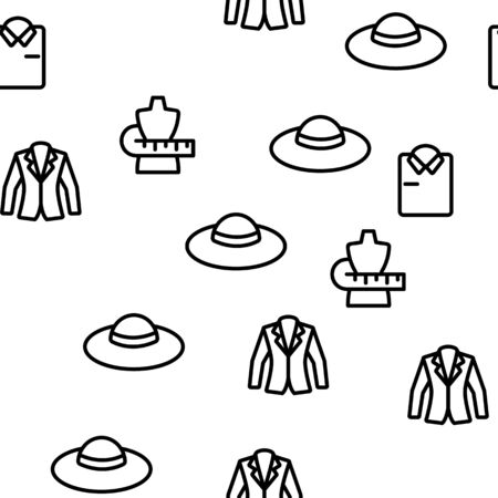Fashion And Clothes Vector Seamless Pattern Thin Line Illustration