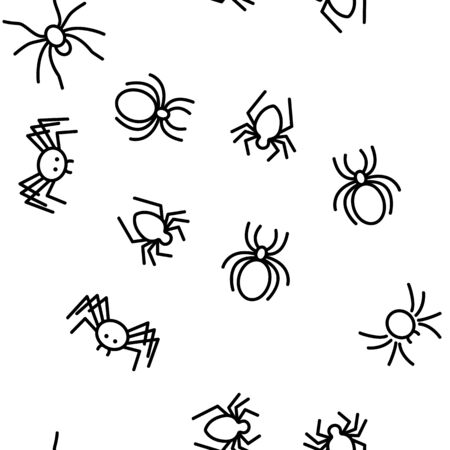 Spider Silhouette Vector Seamless Pattern Thin Line Illustration