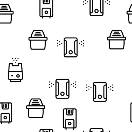 Air Purifier Devices Vector Seamless Pattern Thin Line Illustration
