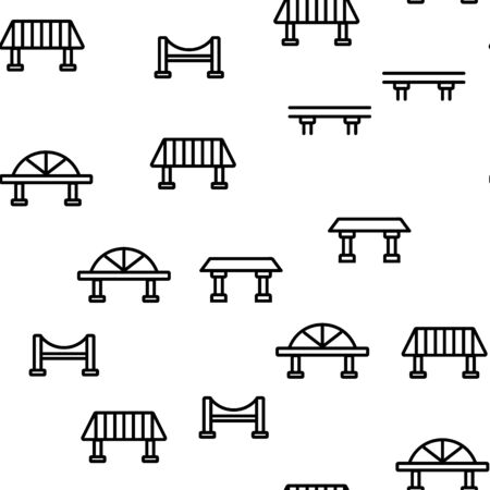 Bridge Construction Vector Seamless Pattern Thin Line Illustration