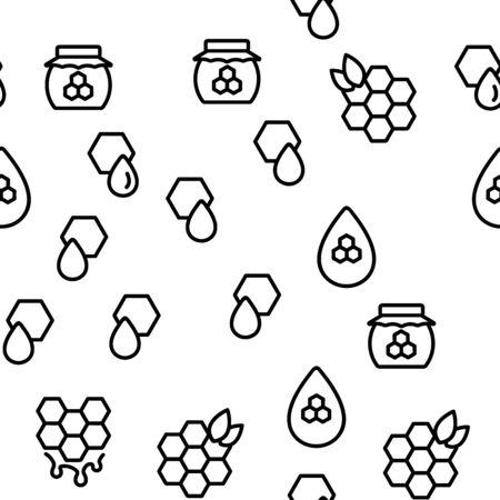 Honeycomb Vector Seamless Pattern Thin Line Illustration Illustration