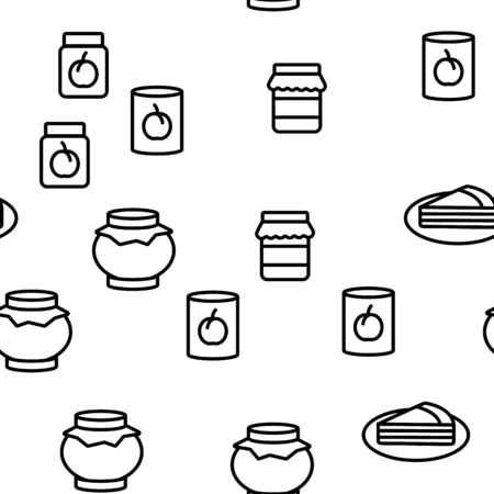 Peach Fruit Collection Elements Icons Set Vector Thin Line. Jam Bottle And Pie, Juice And Piece Of Peach, Nectarine Pin And Dessert Concept Linear Pictograms. Monochrome Contour Illustrations