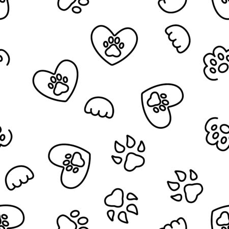 Paw Animal Vector Seamless Pattern Thin Line Illustration Illustration