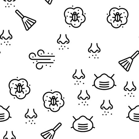 Dust And Polluted Air Vector Seamless Pattern Thin Line Illustration