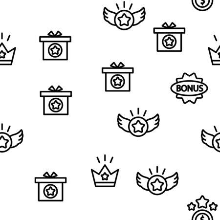Bonus Loyalty Vector Seamless Pattern Thin Line Illustration Illusztráció