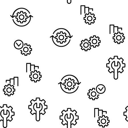 Automation Vector Seamless Pattern Thin Line Illustration