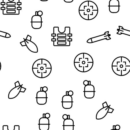 Army Military Vector Seamless Pattern Thin Line Illustration