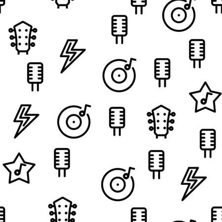 Rock And Roll Vector Seamless Pattern Thin Line Illustration