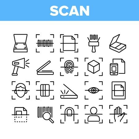 Scan Reading Collection Elements Icons Set Vector Thin Line. Finger And Hand Scan App, Face And Document Scanning Technology Concept Linear Pictograms. Monochrome Contour Illustrations
