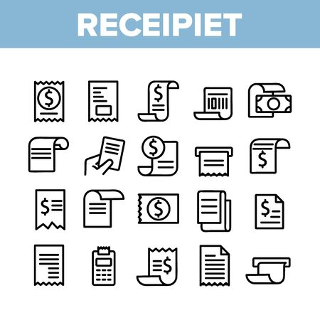 Receipt Bill Collection Elements Icons Set Vector Thin Line. Receipt Invoice With Dollar Mark, Money Banknote And Calculator Concept Linear Pictograms. Monochrome Contour Illustrations