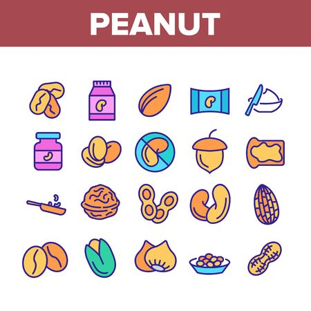 Peanut Food Collection Elements Icons Set Vector Thin Line. Peanut Oil And Butter, Acorn And Hazel, Coffee Beans And Cocoa, Walnut And Nut Concept Linear Pictograms. Color Contour Illustrations