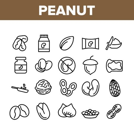 Peanut Food Collection Elements Icons Set Vector Thin Line. Peanut Oil And Butter, Acorn And Hazel, Coffee Beans And Cocoa, Walnut And Nut Concept Linear Pictograms. Monochrome Contour Illustrations