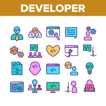 Developer Collection Elements Icons Set Vector Thin Line. Coder Developer And Human Silhouette, Gear And Heart, Light Bulb And Dialog Window Concept Linear Pictograms. Color Contour Illustrations