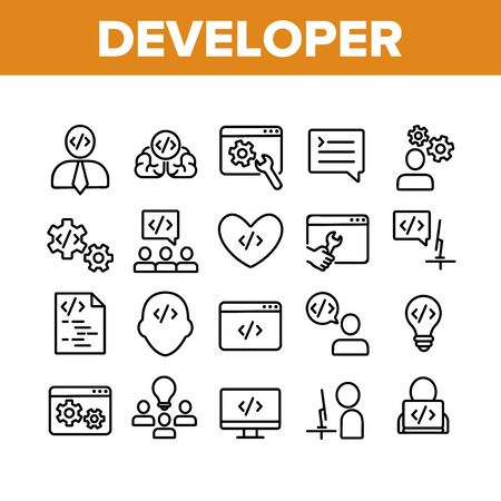 Developer Collection Elements Icons Set Vector Thin Line. Coder Developer And Human Silhouette, Gear And Heart, Light Bulb And Dialog Window Concept Linear Pictograms. Monochrome Contour Illustrations
