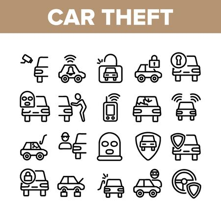 Car Theft Collection Elements Icons Set Vector Thin Line. Man Silhouette In Mask, Car With Broken Glass And Without Wheels, Alarm And Camera Concept Linear Pictograms. Monochrome Contour Illustrations Standard-Bild - 133479470