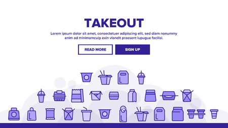 Takeout Food Vector Thin Line Icons Set. Takeout, Takeaway Meal and Beverages Linear Pictograms. Fast Food, Chinese Dishes in Paper Disposable Containers, Drinks in Plastic Cups Contour Illustrations Illusztráció