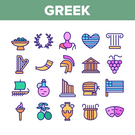 Greek Country Nation Cultural Icons Set Vector Thin Line. Harp And Greek Column, Parthenon And Amphora, Vase And Statue, Olives And Grape Concept Linear Pictograms. Color Contour Illustrations