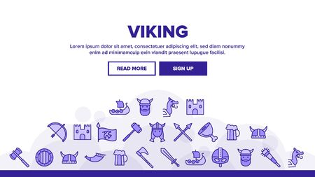 Vikings Life Active Rest Landing Web Page Header Banner Template Vector. Vikings Accessories, Weapons, Ammunition. Traditional Scandinavian Swords, Axes, Helmets Illustration Ilustrace