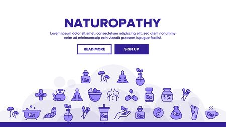 Naturopathy Therapy Landing Web Page Header Banner Template Vector. Naturopathy, Homeopathic Medication. Natural Ingredients, Feet Massage, Yoga, Acupuncture, Alternative Medicine Illustration