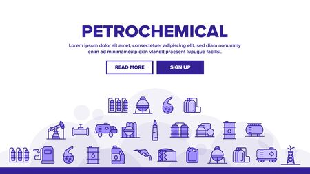 Petrochemical Industry Landing Web Page Header Banner Template Vector. Petrochemical Product, Oil, Petroleum Production. Oil-derrick, Gas Station, Petrol Storage and Transportation Illustration