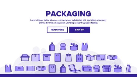 Packaging Types Landing Web Page Header Banner Template Vector. Packaging Boxes, Shopping Bags. Cardboard, Paper, Recyclable Containers. Pizza, Fast Food, Takeaway Packaging Illustration Illusztráció