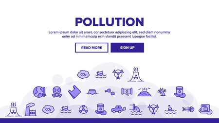 Pollution of Environment Landing Web Page Header Banner Template Vector. Air, Water, Soil Pollution Problems. Chemical Contamination, Gas Emissions, Deforestation, Global Warming Illustration 일러스트