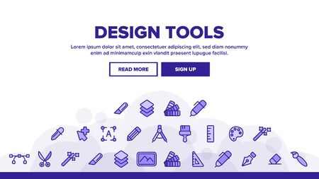 Design Tools Landing Web Page Header Banner Template Vector. Graphic Design Tools, Painting, Sketching Accessories. Drawing Equipment, Brushes, Pencils, Image Editing Instruments Illustration