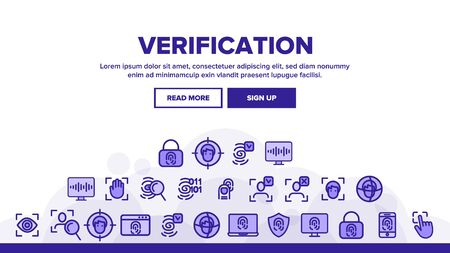 Verification of ID Landing Web Page Header Banner Template Vector. Verification, Biometric Data Encryption. Person Identification, Fingerprint Check, Facial Features Scanning Illustration