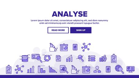 Analysing Data Landing Web Page Header Banner Template Vector. Information Analysis Charts, Diagrams. Statistical Reports, Presentations, Analytical Thinking. Science and Research Illustration