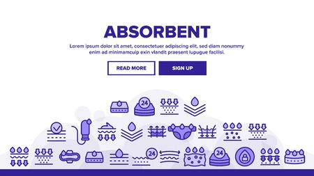 Absorbent, Absorbing Materials Landing Web Page Header Banner Template Vector. Absorbents For Moisture Control. Absorbing Breathable Textures For Children, Women. Water Drops Illustration  イラスト・ベクター素材