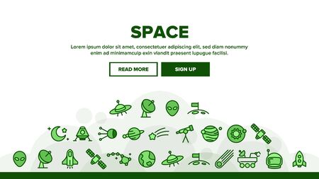 Space Exploration Landing Web Page Header Banner Template Vector. Outer Space, Extraterrestrial Life. Solar System, Moon Surface Research, Satellites, Telescopes, Spaceships Illustration