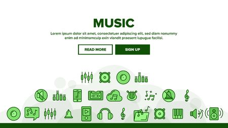 Music, Audio Landing Web Page Header Banner Template Vector. Music Listening Apps, Audio Files Storage Linear Pictograms. Old, Modern Voice Recording Technology. Speakers, Mute Mode, Settings Illustra