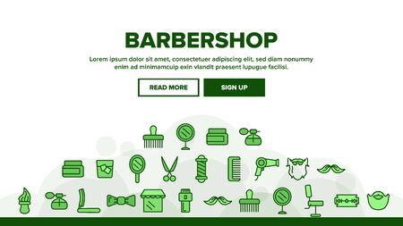 Barbershop Accessories Landing Web Page Header Banner Template Vector. Barbershop Accessories, Hairdressers Tools. Combs, Blow Dryer, Shaving Instruments, Professional Furniture Illustration