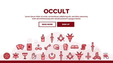 Occult, Demonic Entity Imagery Landing Web Page Header Banner Template Vector. Satanic Rituals, Demonic Beliefs, Superstitions. Deal With Devil, Magic, Mystic, Esoteric Lineart. Occult Illustration