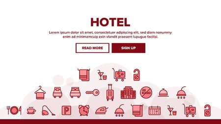 Hotel Accommodation, Room Amenities Landing Web Page Header Banner Template Vector. Hostel Services And Possibilities, All Inclusive Lineart Design. Apartment, Hotel Booking And Reservation Features Illustration