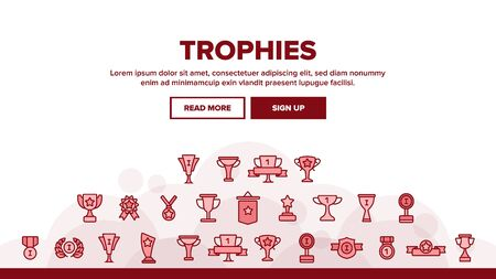 Trophies And Medals For First Place Landing Web Page Header Banner Template Vector. Winner, Reward. Best Result In Competition, Win In Tournament outline cliparts. Awarding Ceremony, Championship Illustration Çizim