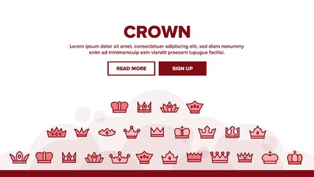 Royal Headwear, Crowns And Tiaras Landing Web Page Header Banner Template Vector. Luxury Of The Monarch Family, Generation. Golden Crown With Jewels And Decoration . Antique, Medieval Authority Illustration