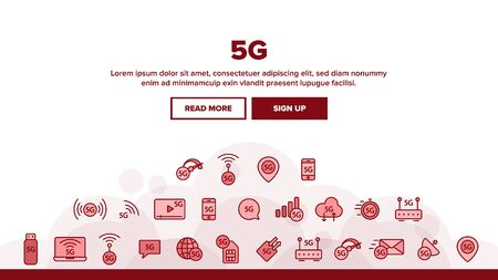 5G Fast Network, Connection Landing Web Page Header Banner Template Vector. High Speed Internet, 5G Generation Of Service Contour. Internet Provider, Connection Type, Wifi, Wireless Distribution Illustration