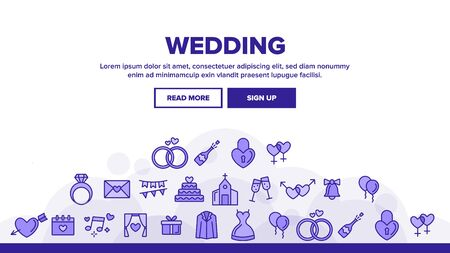 Wedding And Engaging Landing Web Page Header Banner Template Vector. Wedding Traditional Ceremony. Engagement Rings, Festive Cake, Bride Dress, Champagne Bottle Illustration
