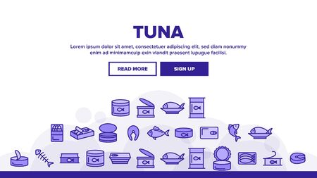 Tuna, Fish Products Landing Web Page Header Banner Template Vector. Raw, Cooked And Canned Tuna Outline Symbols. Fresh Uncooked And Prepared Seafood. Fish Steak, Sea Food Illustration Illusztráció