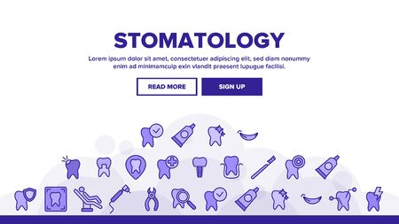 Stomatology And Dentistry Landing Web Page Header Banner Template Vector. Stomatology, Teeth Treatment And Oral Hygiene. Dentist Tools. Dental Implant, Tooth Cavity Illustration Illustration