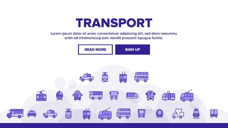 Public Transport And Vehicle Landing Web Page Header Banner Template Vector. Passenger Urban Transport. Bus, Taxi Cab, Trolley, Train Side And Front View Illustration Illustration