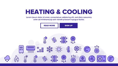 Heating And Cooling System Landing Web Page Header Banner Template Vector. Heating And Cooling Air Conditioning. Temperature Control Equipment. Radiator, Fan, Thermometer Illustration