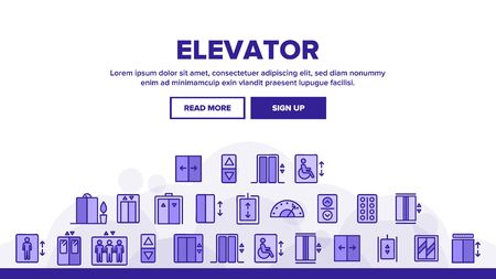 Passenger Elevator, Lift Vector Linear Icons Set. Condominium Indoor Elevator Door Outline Symbols Pack. Apartment Building Lift With Up And Down Buttons Isolated Contour Illustrations