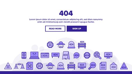 404 HTTP Error Message Vector Linear Icons Set. 404 Page Not Found Outline Symbols Pack. Internet Connection Problem, Broken Link. Standard Response Code Isolated Contour Illustrations