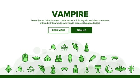 Protection From Vampire Landing Web Page Header Banner Template Vector. Weapons Vampire Hunter Outline Cliparts. Halloween. Garlic, Silver Bullets, Aspen Stake, Cross Illustration