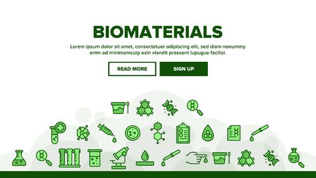 Biomaterials, Medical Analysis Vector Linear Icons Set. Biomaterials Research Outline Cliparts. Chemical Experiment Pictograms Collection. Scientific Laboratory Equipment Thin Line Illustration 일러스트