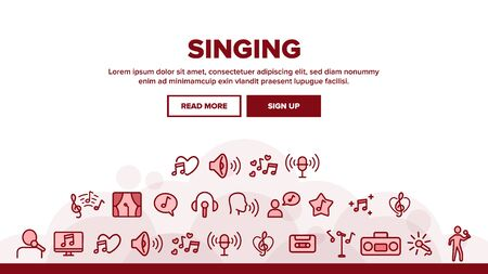 Singing Landing Web Page Header Banner Template Vector. Singing And Listening Song And Music In Karaoke, Concert, Tape-recorder Or Audiophone Illustration
